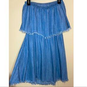 Strapless Denim Fringe Mini Dress